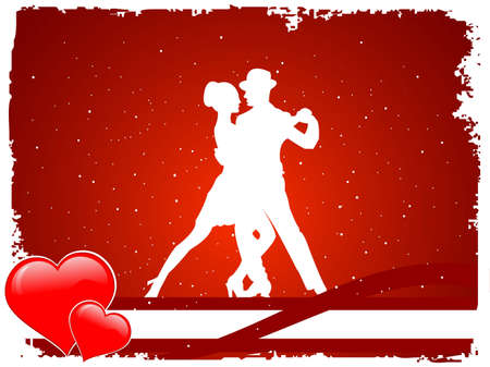 lovers in dance pose in grungy frame     photo