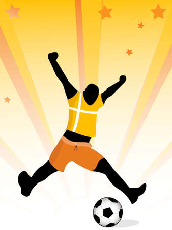 man enjoying  soccer on sunburst background     photo