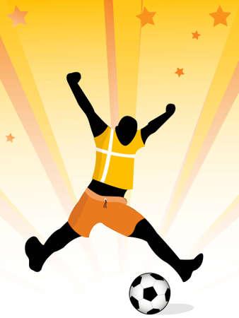 man enjoying  soccer on sunburst background     photo