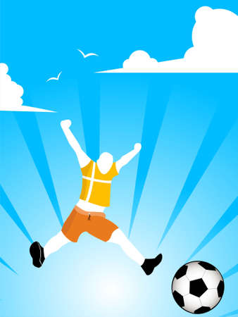 footballer jumping with ball on sunburst background       photo