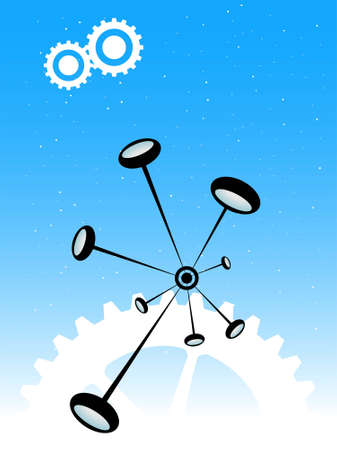 particle bonding and cogs on gradient background   photo