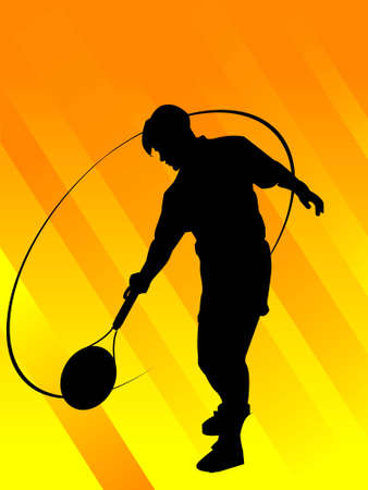 racquet: man with racquet on gradient striped background