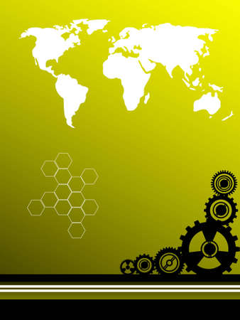 variuos cog wheels and world map on gradient background     photo