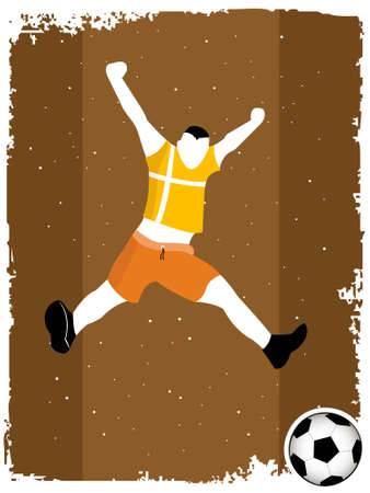 jumping man and soccer on striped background       photo