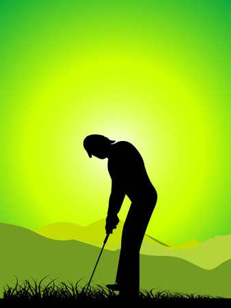 man playing golf on landscape   photo