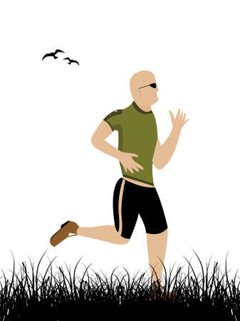 healthy runner on landscape and birds     photo