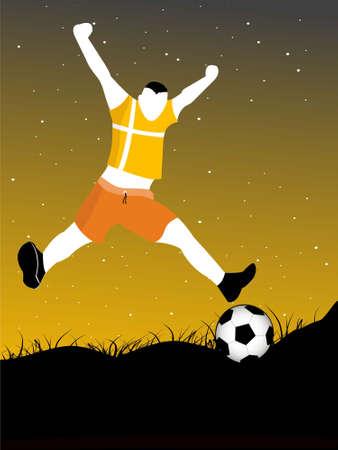 soccerer on landscape on gradient background   photo