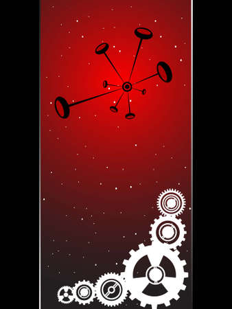 chemical bonds and gear wheels on gradient background