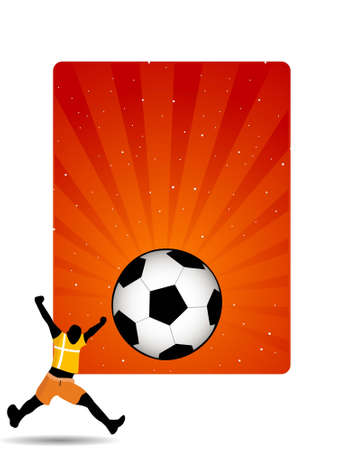 footballer with football on sunburst background   photo