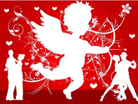cupid and dancing couples on floral background   photo