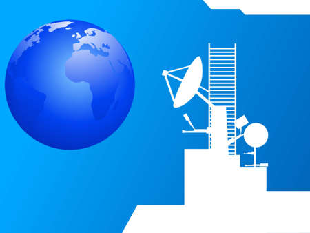 manmade: satellite and globe on abstract background   Stock Photo