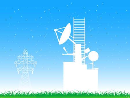 telecast: satellite and satellite tower on landscape