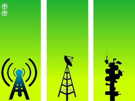 telecast: satellite and network towers on gradient background     Stock Photo