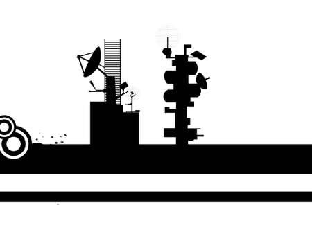 telecast: satellite towers on isolated background     Stock Photo