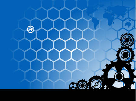 gearing wheels on hexagonal background