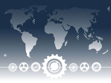 world map and cog wheels on gradient background   photo