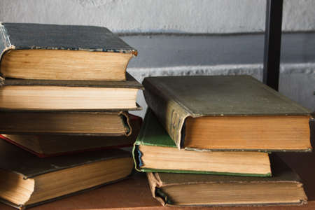 piles of different old books Stock Photo