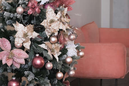 holiday, room, interior with christmas tree and new year and xmas