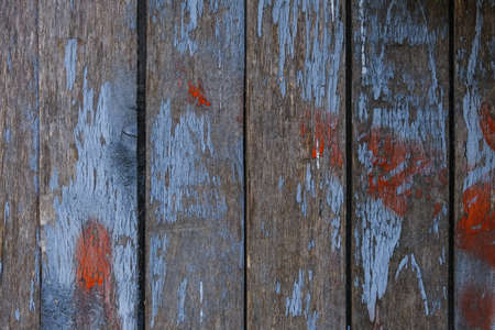 old peeling paint on wooden boards, craquelure, horizontally Imagens