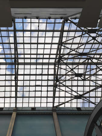 glass ceiling in the store, unusual ceiling structure in the building Stock Photo