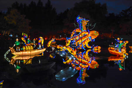 Chineese Sculptural Lighting at Gardens of Light, Montreal, Quebec, Canada.