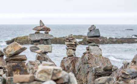 Inukshuks Standing on the Atlantic Coast, Portsmouth, NH, USA