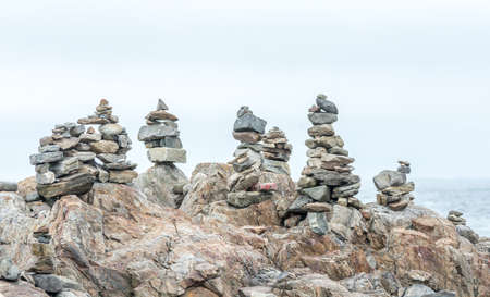 Inukshuks in Portsmouth Seacoast Science Center Area, New Hampshire, USA