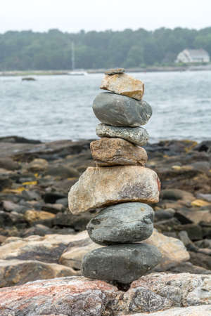 Inukshuks Facing the Atlantic Ocean in Portsmouth,  New Hampshire, USA Stock fotó