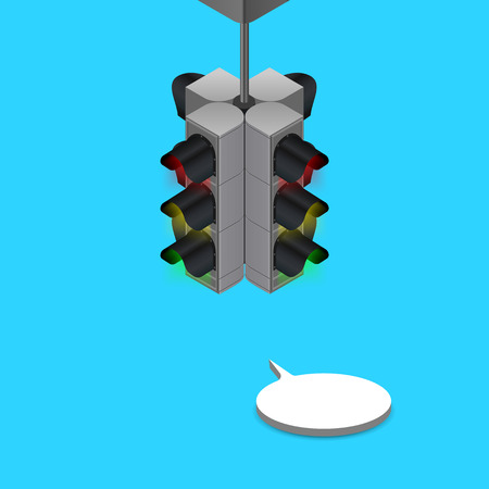 Traffic Lights,isometric view, isometric traffic sign Illustration