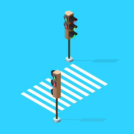 Traffic Lights,isometric view, isometric traffic sign Ilustracja