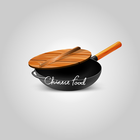 Chinese Iron Pan with wooden pot cover,Making Chinese food