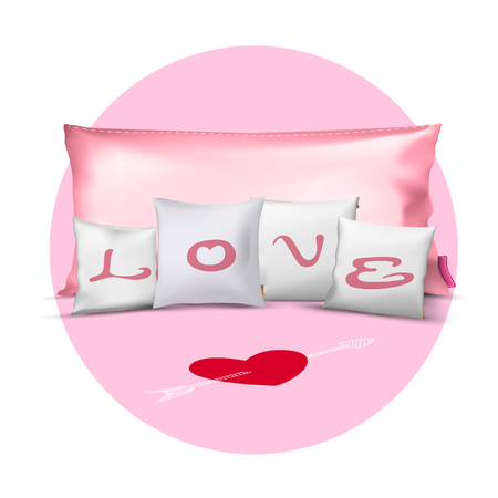 Set of Pillows with Love,Valentines Day