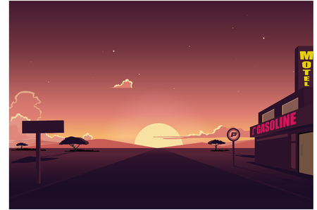 Desert Road landscape with Motel and Gasoline station Ilustração