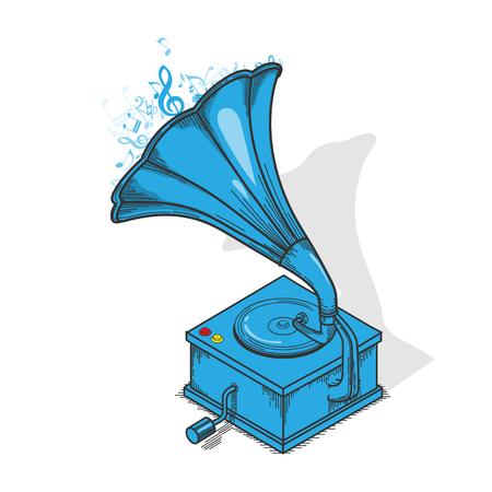 Blaues Vintages Grammophon lokalisiert auf white.Outline Illustration Vektorgrafik