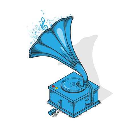Blue Vintage Gramophone Isolated on white.Outline Illustration