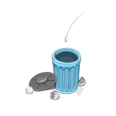 Throwing crumpled paper into dustbin Illustration