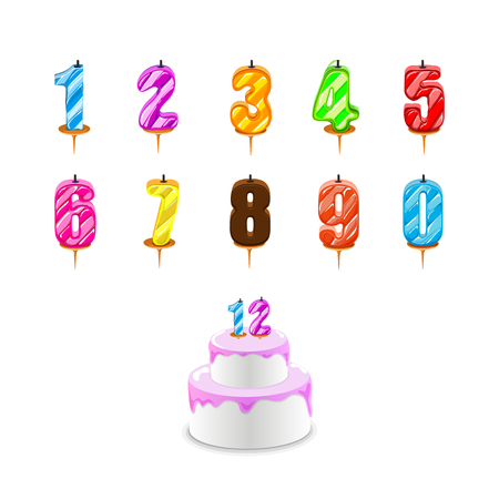 Birthday candles . Birthday cake with numeral candles