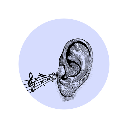 Music notes on a staff come from the ear. Stock Vector - 121075892