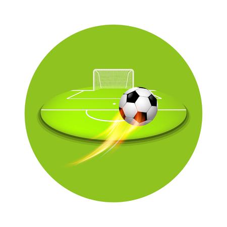 Flying Football shooting at goal Ilustracja