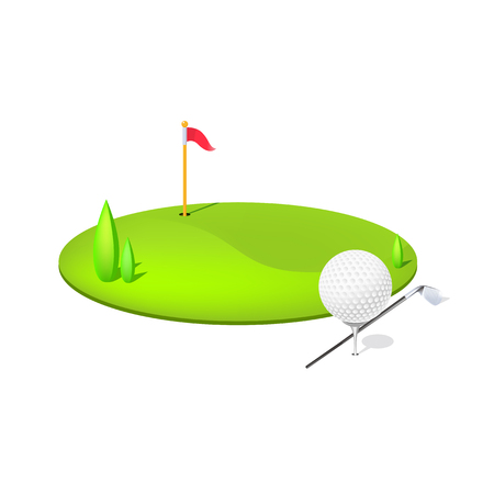golf match icon with all golf instrument