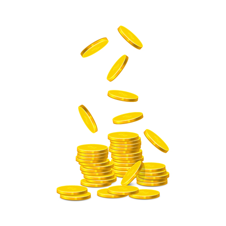 Golden coins with Dollar sign on it are falling down. Ilustracja