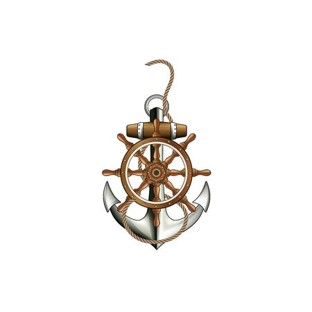 Anchor and ship wheel with rope isolated on white background.