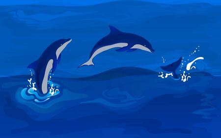 Background with jumping dolphins