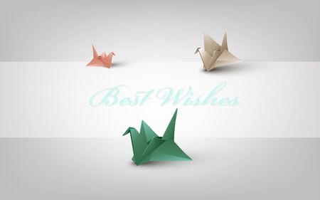 Background with colored paper cranes Ilustracja