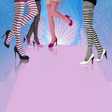 Background of female dancing legs