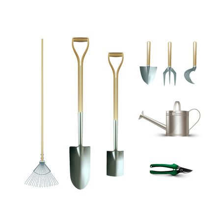Set of gardening tools like as fork ,pruning shears,rake,shovels