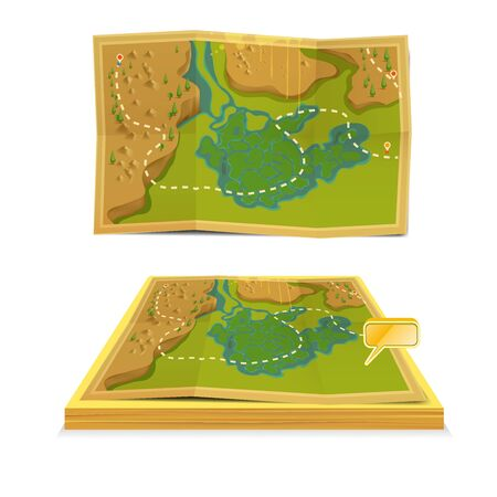 Vecor treasure maps, Top view and Perspective view.