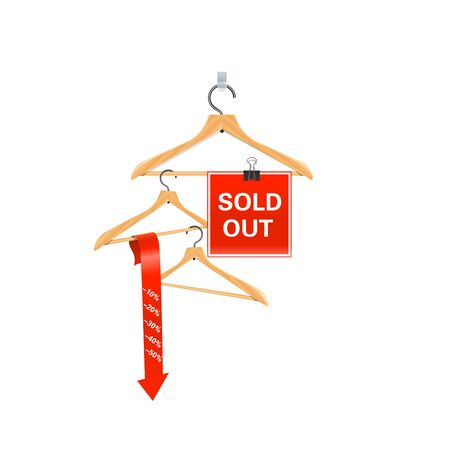 Wooden hangers show the message of discount.Sold out sign Illustration