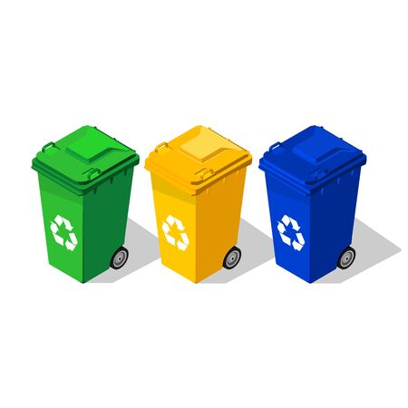 Yellow, green and blue trash cans illustration