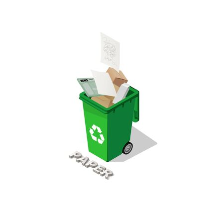 Green Dustbin full of recyclable waste papers  illustration. Ilustracja